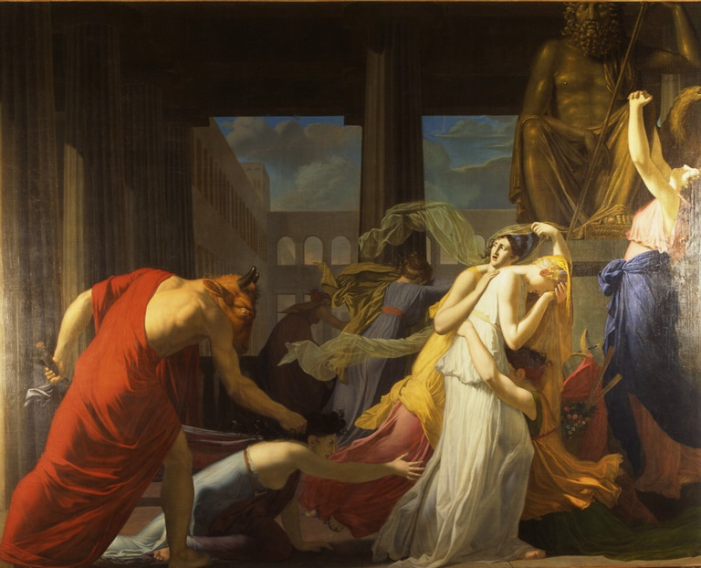 Jean-Baptiste Peytavin (1767-1855), Les sept athéniennes livrées au Minotaure, 1802, huile sur toile, musée des beaux-arts de Chambéry.