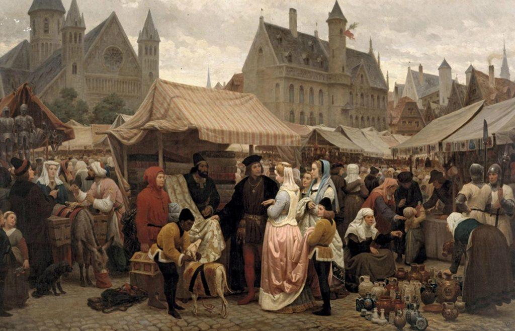 Félix de Vigne (1806-1862), Une foire à Gand, Moyen-âge, 1862, huile sur toile, musée des beaux-arts de Gand.