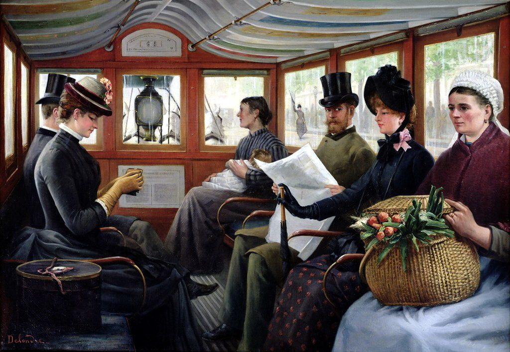 Maurice Delondre, Dans l'omnibus, vers 1885, huile sur toile, musée Carnavalet.