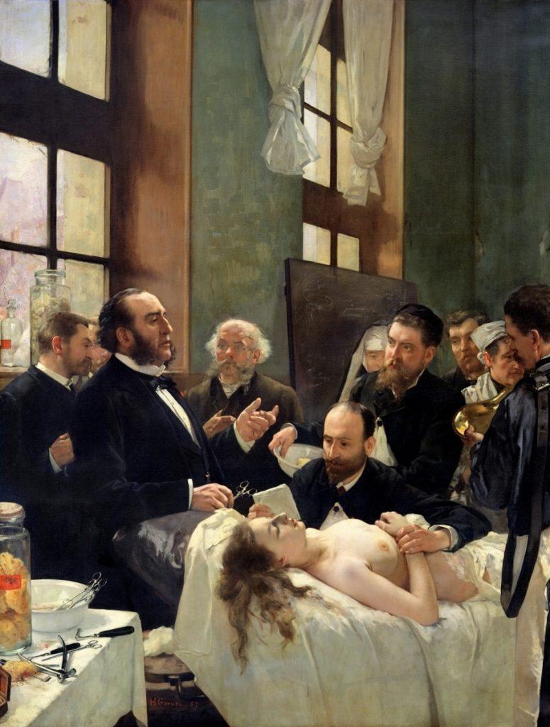 Henri Gervex (1852-1929), Avant l'opération dit aussi Le docteur Péan enseignant à l'hôpital Saint-Louis sa découverte du pincement des vaisseaux, 1887, huile sur toile, Musée d'Orsay.