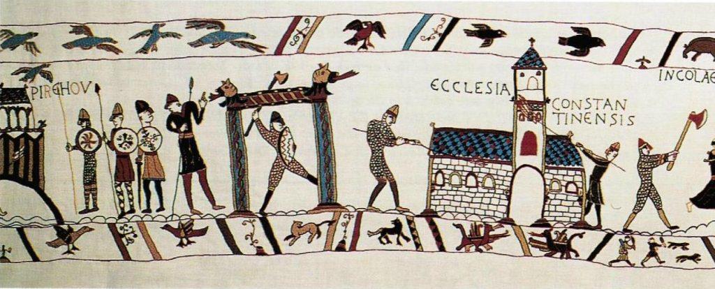La légende des oies représentée sur la tapisserie de Pirou. Source : Junior Association Le Verrier.