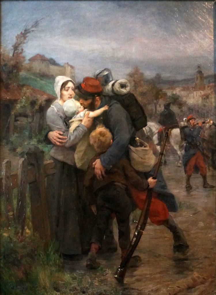 Victor Prouvé (1858-1943),Le départ du soldat ou Pour la patrie, 1887, huile sur toile, Collection de la salle d'honneur du 26°RI, , musée Lorrain, Nancy.
