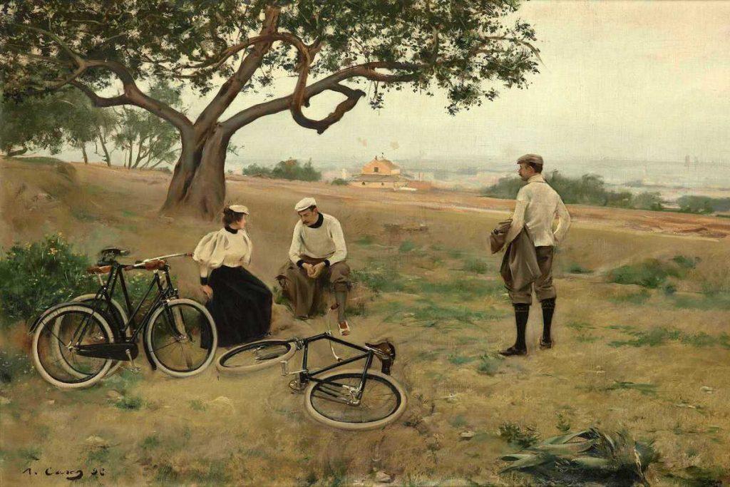 Peinture de Ramon Casas, El descanso de los ciclistas (Le repos des cyclistes), 1886, huile sur toile.