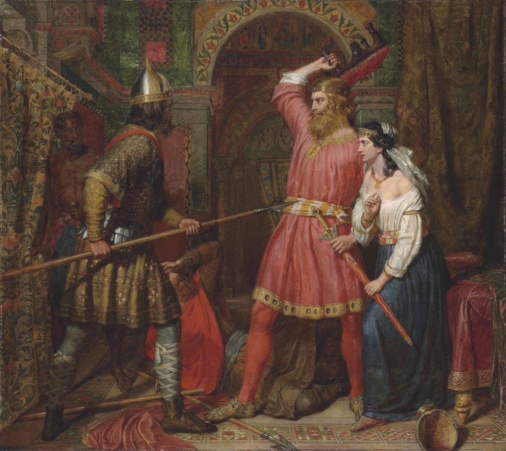Charles Landseer (1799–1879), L'assassinat d'Alboïn, roi des Lombards, 1856, huile sur toile, collection privée.