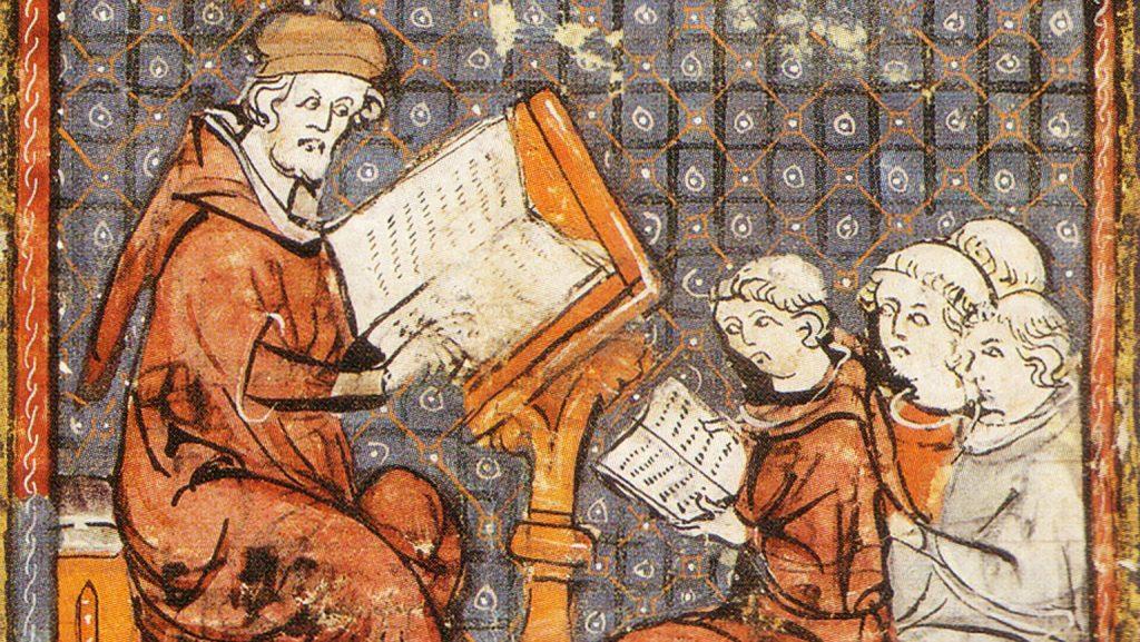 Grandes chroniques de France, Cours de philosophie à Paris, fin du XIVème siècle, bibliothèque municipale de Castres.