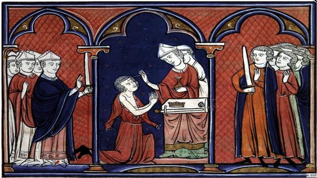 Enluminure représentant l'onction. Ordre de la consécration et du couronnement des rois de France. 1250. Bibliothèque nationale de France.