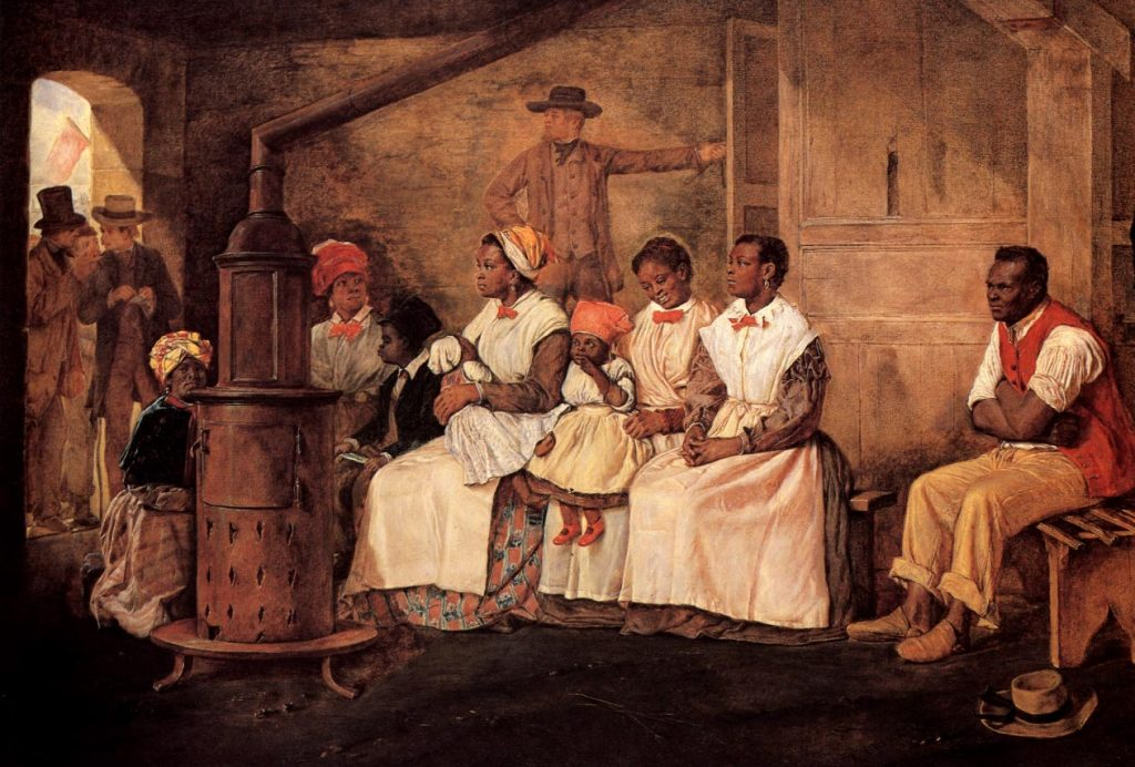 Eyre Crowe (1824–1910) , Slaves waiting for sale (Esclaves attendant la vente), 1861, Heinz History Center Collections.
