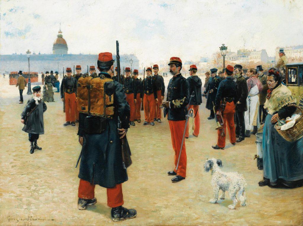 Pierre Georges Jeanniot (1848–1934), Élèves caporaux sur l'esplanade des Invalides, 1883, huile sur toile, collection privée.