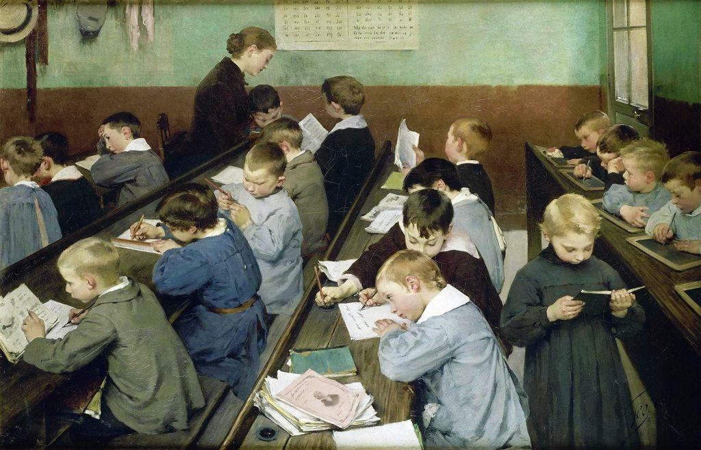 Jean Geoffroy dit Géo (1853-1924), En classe, le travail des petits, 1889, Ministère de l'Éducation nationale.