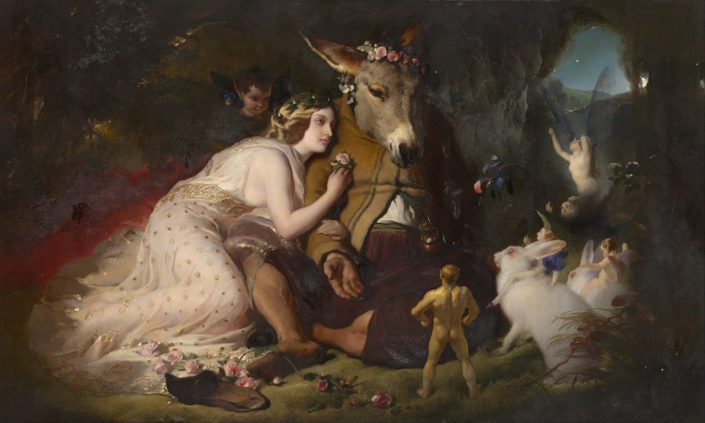 Edwin Henry Landseer (1802–1873),Scene from A Midsummer Night's Dream. Titania and Bottom, 1848-51, huile sur toile, National Gallery of Victoria, Melbourne.