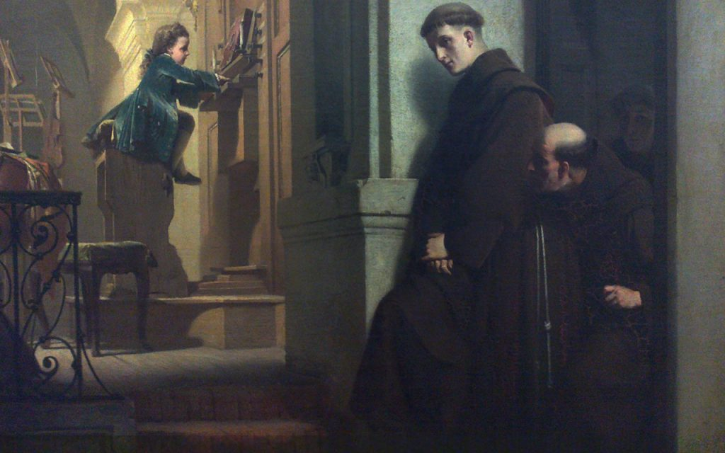 Heinrich Lossow (1843-1897), Le jeune Mozart jouant de l'orgue, 1864, huile sur toile montée sur panneau, Schlossmuseum Linz.