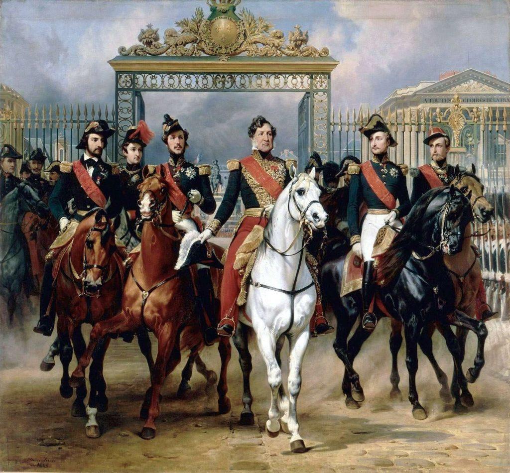 Le roi Louis-Philippe et ses fils sortant par la grille d'honneur du château de Versailles après avoir passé une revue militaire dans les cours, 10 juin 1837, Horace Vernet, 1846, huile sur toile, musée des châteaux de Versailles et de Trianon.