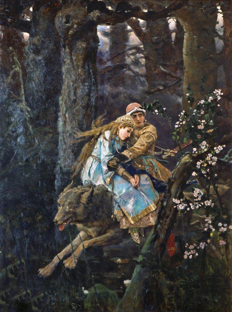 Viktor Vasnetsov (1848–1926), Ivan Tsarévtich chevauchant le loup gris, 1889, huile sur toile, Galerie Tretiakov.