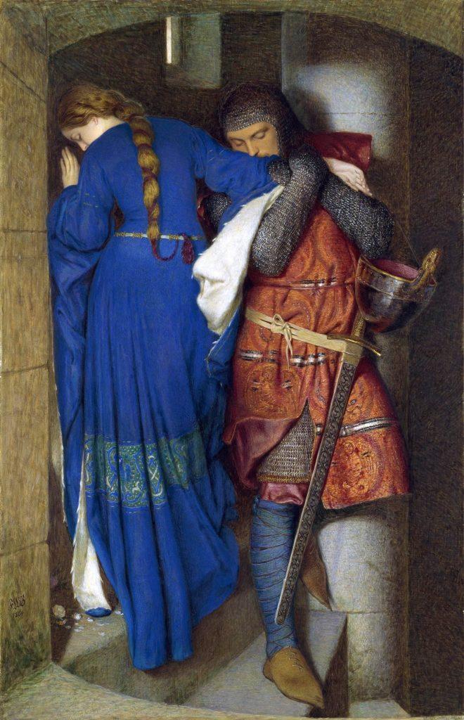 Frederic William Burton (1816-1900), Hellelil and Hildebrand, The Meeting on the Turret Stairs (Hellelil et Hildebrand, la rencontre dans les escaliers de la tourette), 1864, aquarelle et gouache, National Gallery Of Ireland, Dublin.
